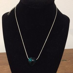 """Fashion necklace, 17 3/4"""" green glass bead"""